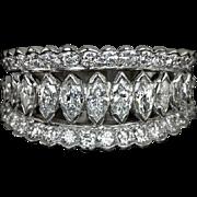 2 Carat F VS Diamond Vintage Platinum Cocktail Ring Marquise Round Retro Band Estate