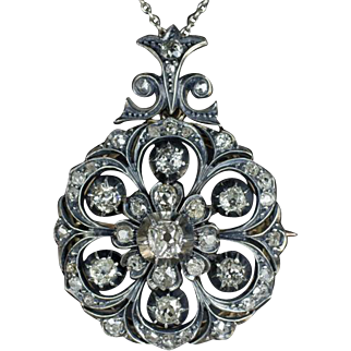 1890s 3 Carat Total Old Mine and Rose Cut Diamonds Antique Vintage Signed Victorian Pin Pendant Rare