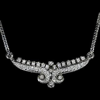 Vintage F VS Art Deco Style Diamond Necklace 18 Karat White Gold Antique Choker Retro