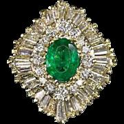 3 Carat VVS Diamond 1ct Oval Emerald Vintage Ballerina Cocktail Ring Double halo Retro