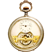 Silver Floral Embossed Mobilus Tourbillion Pocket Watch