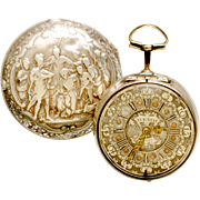 Rare 18-Size Signed Repousse 1685 Pair Case Verge Gent's Pocket Watch with Key