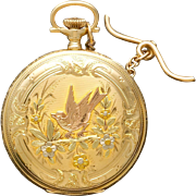 14K Multicolor Gold Illinois Pocket Watch with T-Bar Chain