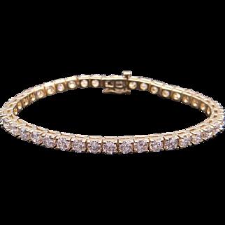 Classic 14k Yellow Gold 9ct Round Brilliant Cut Diamond Tennis Link Bracelet 7.25 inch