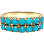 Adorable 18k Yellow Gold Double Row Bead Round Turquoise 5mm Wide Stack Band Ring Size 6