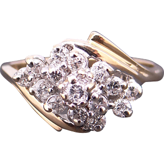 Adorable 14k Yellow Gold .50ct Round Diamond Cluster Dome Ring Size 6.5