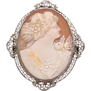 Art Deco Filigree 14k White Gold Carved Shell Cameo Woman Portrait Flower Brooch Pin