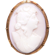 Deco 10k Yellow Gold Carved Coral Cameo Woman Portrait Profile Brooch Pin Pendant