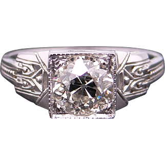 Exquisite Art Deco 18k White Gold 1.28ct Round European Cut Diamond Engagement Ring Anniversary Promise Wedding Size 7.5