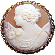 Retro Era 10k Yellow Gold Carved Shell Cameo Woman Profile Flower Brooch Pin