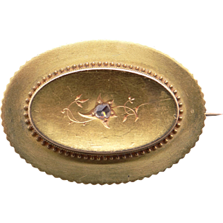 Victorian 14k Yellow Gold Rose Cut Diamond Circle Mourning Locket Brooch Pin