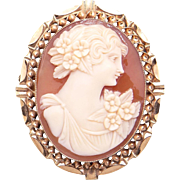 Retro Era 10k Yellow Gold Carved Shell Cameo Woman Wearing Flower Dress Brooch Pin