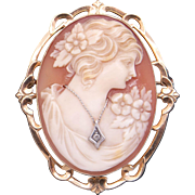Ornate 10k Yellow Gold Carved Shell Cameo Woman Wearing Diamond Pendant Brooch Pin