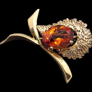 Amazing 18k Yellow Gold 10ct Oval Cut Citrine Flower Ribbon Brooch Pin