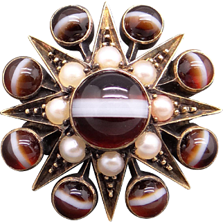 Art Deco 10k Yellow Gold Cabochon Agate Cultured Seed Pearl Flower Brooch Pin 1930s