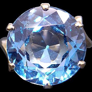 Retro 14k Yellow Gold 13ct Round Brilliant Cut Blue Topaz Solitaire Ring Size 5.25