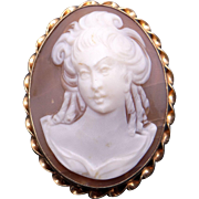 Retro Era 14k Yellow Gold Oval Carved Shell Cameo Woman Portrait Brooch Pin Pendant