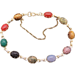 Vintage 14k Yellow Gold Carved Scarab Multi Stone Link Bracelet 7.25in Onyx Agate Tiger 7.25 inches