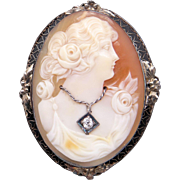 Art Deco Era 14k White Gold Carved Shell Cameo Woman Wearing Diamond Pendant Brooch Pin