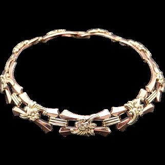 Retro 14k Rose Yellow Gold Flower Link Floral Chain Bracelet 7 inch