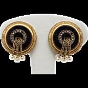 Beautiful Victorian 14k Yellow Gold Onyx Diamond Cultured Pearl Circle Earrings Non Pierced