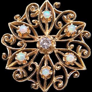 Vintage Estate 14k Yellow Gold .25ct Round Cut Diamond & Multi Color Opal Circle Flower Brooch Pin Pendant
