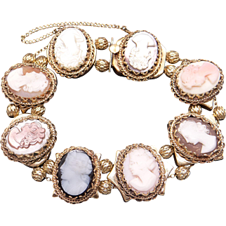 Exceptional 14k Yellow Gold Carved Multi Stone Cameo Slide Bracelet 7.5 inch