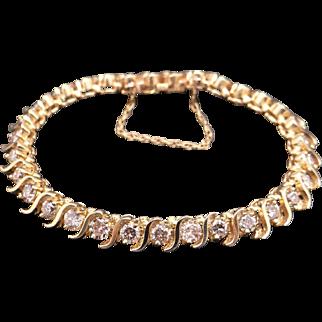 "Gorgeous 14k Yellow Gold Round Brilliant Cut 9ct Diamond Tennis ""S"" Link Bracelet 6.5 inches"