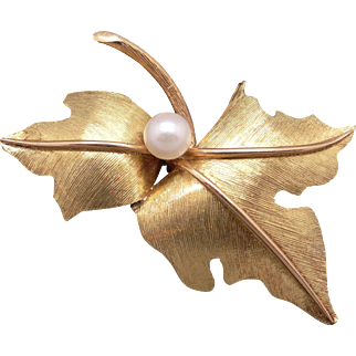 Beautiful 18k Yellow Gold 6mm Round White Cultured Pearl Leaf Flower Tree Vine Brooch Pin