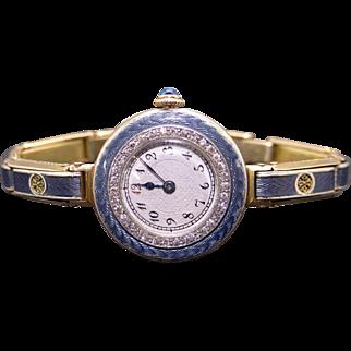 Exquisite CH Perrenoud 14k Yellow Gold Blue Gray Enamel 15 Jewel Diamond Dress Wind Watch