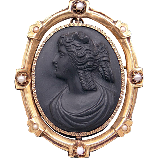 Antique 14k Yellow Gold Carved Stone Lava Cameo Pearl Woman Portrait Pendant Brooch Pin