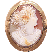 Beautiful 10k Yellow Gold Carved Shell Cameo Woman Profile Brooch Pin Pendant