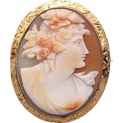 14k Yellow Gold Carved Shell Cameo Woman Portrait Flower Brooch Pin Pendant