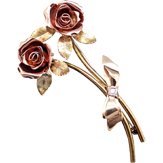 Retro Tri Color 14k Yellow Rose Green Gold Round Cut Diamond Rose Flower Brooch Pin 1950s