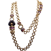Fantastic 18k Yellow Gold Theorema Amethyst Purple Enamel Link Chain Heart Necklace 34""