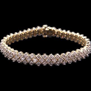 Fantastic 14k Yellow Gold 7ct Round Brilliant Cut Diamond Tennis Link Bracelet 7 inch