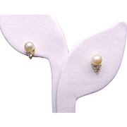 Adorable 14k Yellow Gold Round White 6mm Cultured Pearls & Diamond Stud Earrings