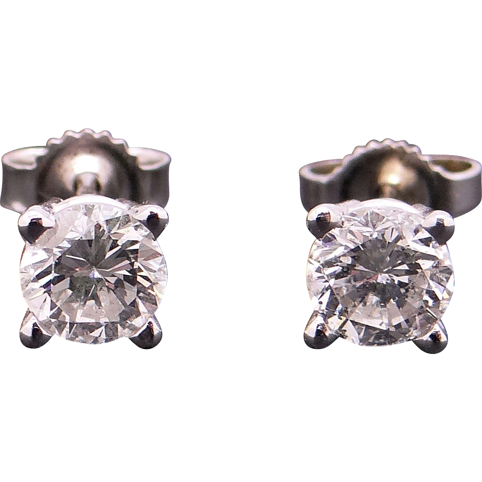 14k White Gold 1ct Round Brilliant Cut Diamond Stud Earrings With
