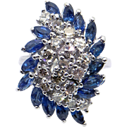 Magnificent 14k White Gold 2.28ct Marquise Cut Sapphire & Round Cut Diamond Cluster Cocktail Ring Size 8