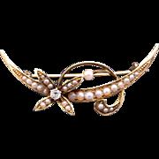 Victorian 14k Yellow Gold Round European Diamond Seed Pearl Half Moon Flower Pin