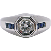 Mens 18k White Gold 0.64ct Round European Diamond Sapphire Band Ring size 9.5