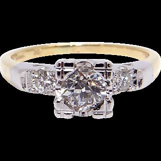 14k Yellow White Gold .50ct Round European Cut Diamond Engagement Promise Ring Sz 6