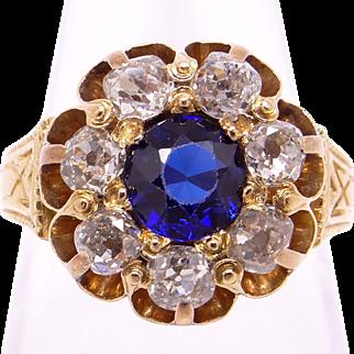 Victorian 18k Yellow Gold 1.50ct Round European Cut Sapphire Diamond Band Ring Size 5