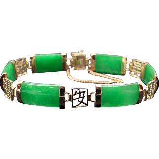 Vintage 14k Yellow Gold Green Jade Tennis Link Bracelet 7 inch