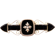 Victorian 10k Yellow Gold Onyx Seed Pearl Mourning Brooch Pin