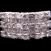 Dazzling 18k White Gold 2.19ct Round & Baguette Diamond Wedding Anniversary Band Ring G VS
