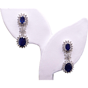 Gorgeous 18k White Gold 5ct Oval Cut Sapphire Diamond Halo Cluster Dangle Drop Earrings