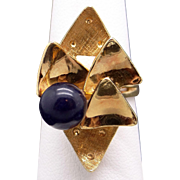 Awesome Vintage 18k Yellow Gold Blue Lapis Bead Ball Triangle Geometric Band Ring Size 8.5