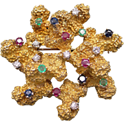 Spectacular 18k Yellow Gold 1.14ct Emerald Diamond Ruby Sapphire Nugget Coral Brooch Pin