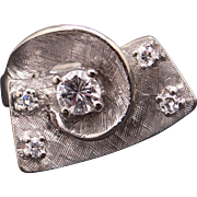 Retro 14k White Gold .37ct Round Cut Diamond Cluster Band Cocktail Ring Size 4.5